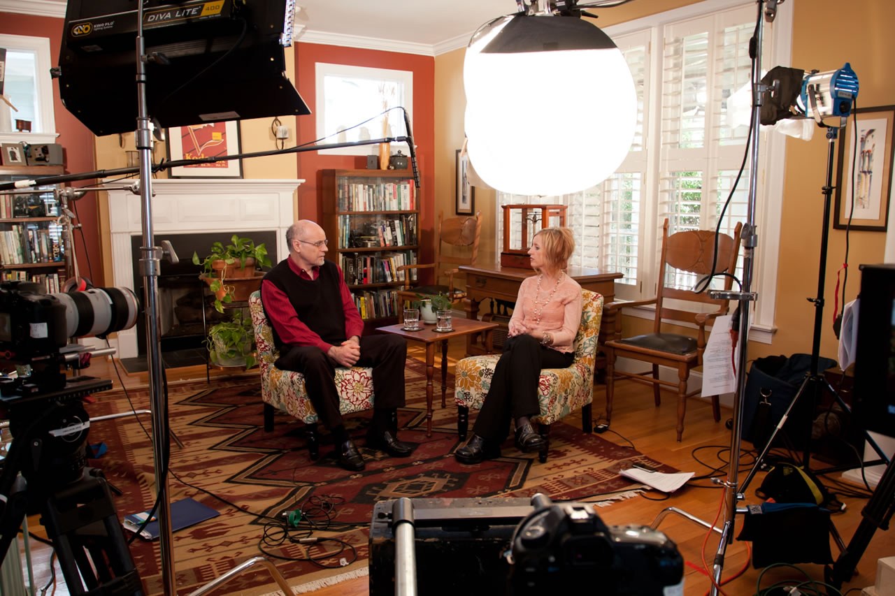 Chris Saade, Mandy Eppley on film set for The Respite series on grief - Ginger Wagoner, Photographer, Photosynthesis