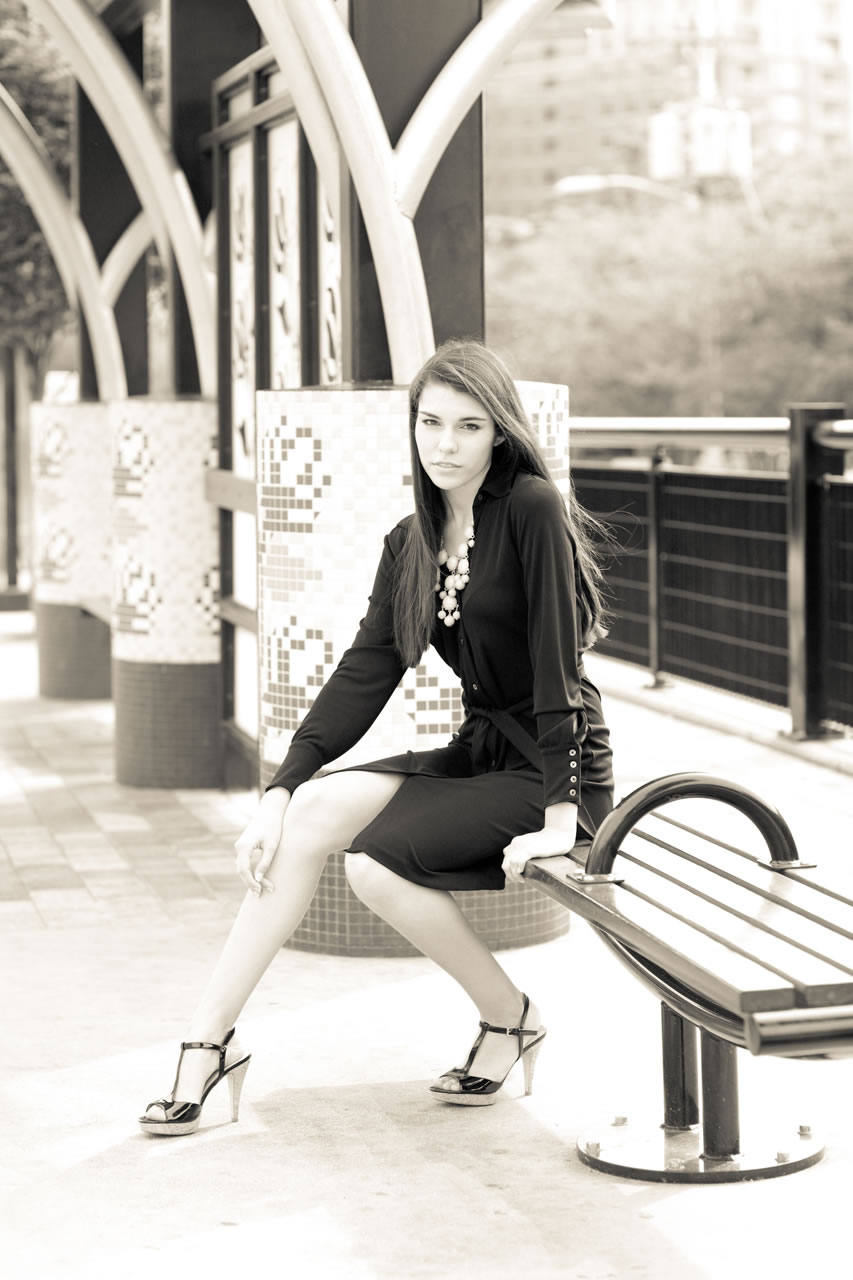 Model at Charlotte light rail stop - Ginger Wagoner, Photographer, Photosynthesis