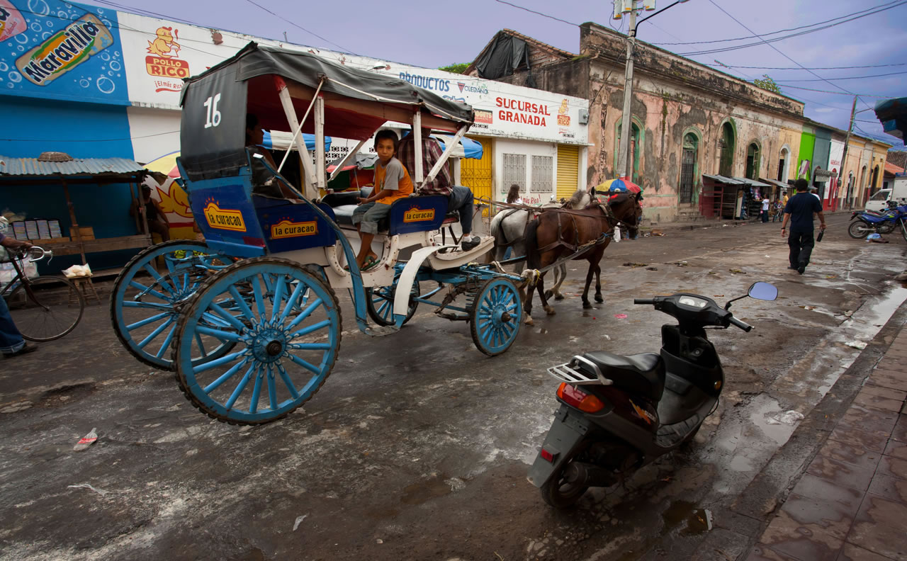 Boy riding in horse-drawn buggy, street scene in Grenada - Ginger Wagoner, Photographer, Photosynthesis