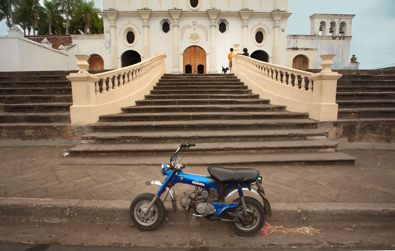 Scooter and steps to church in Nicaragua - Ginger Wagoner, Photographer, Photosynthesis