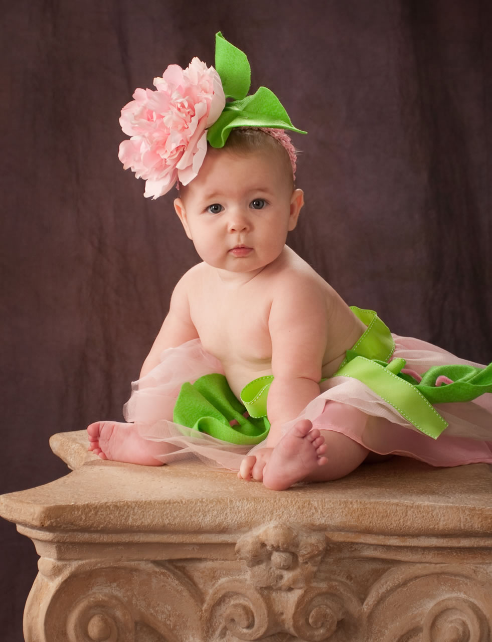 Infant on column in flower hat - Ginger Wagoner, Photographer, Photosynthesis